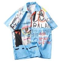 camisas de manga hawaiana al por mayor-2019 Camisa de hip hop Streetwear Hombres Camisa hawaiana Estampado de graffiti Harajuku Camisa de playa Camisas HipHop Verano Tops delgados de manga corta