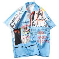 kısa kollu hawaiian gömlek toptan satış-2019 Hip Hop Gömlek Streetwear Erkekler Hawaii Gömlek Graffiti Baskı Harajuku Plaj Gömlek HipHop Gömlek Yaz Ince Kısa Kollu Tops
