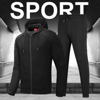 ingrosso vestiti di colore rosso-19ss degli uomini di lusso Tuta Nero Rosso fisso Colore della giacca + pantaloni due pezzi da causale attivo Tuta Autunno Inverno Plus Size