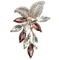 ingrosso spille d'uva-Big Crystal Flower Large Spilla Grape Pins and Brooches Wedding Jewelry Bigiotteria Corpetto Dress Coat Accessori GA753