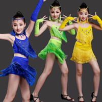 a706afac38a5 Girl Sequined Kids Ballroom Latin Dance Dress Outfits Standard Latin  Competition Dresses Tango Samba Salsa dance wear Costumes