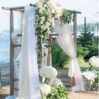 telón de fondo de la boda de tul al por mayor-48cm x 10m Crystal Organza Fabric Yarn Tulle Roll Sheer Birthday Wedding Party Table Handrail Chair Backdrop DIY Decoration