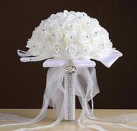 buquês de amor venda por atacado-2020 fita de seda Amor Rose Pure nupcial Artificial Flowers Bride Bouquet Bouquets do casamento de Cristal do Marfim New Buque De Noiva Barato CPA1548