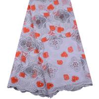 оранжевые кружевные ткани оптовых-Новый Дизайн Горячей Продажи Оранжевый Вышитые Африканские Ткани Шнурка Высокое Качество Молока Шелковой Ткани Французский Чистая Кружевной Ткани Y1471