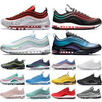 laser pvc venda por atacado-Nike AIR 97 Air Max 97 Estrela Mens Sneakers Designer Almofada Running Shoes Iridescentes Para Homem Womens Triple S Branco Preto Ginásio Vermelho Leopard Athletic Shoes Jogging