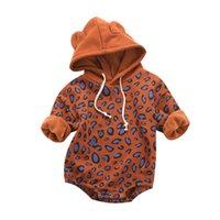 Wholesale baby winter romper patterns for sale - Group buy Winter Baby Boy Girl Romper Thicken Velvet Leopard Pattern Long Sleeve Hoodie Newborn Outfits