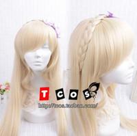 ingrosso parrucche chiare-Super Dangan-Ronpa 2 Sonia Nevermind Light Blonde Cosplay parrucca partito ondulato Hai