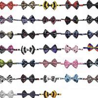 arcs de mode chien achat en gros de-Nouveau style cravate de chien de compagnie d'impression noeud papillon mode animal cravate bande dessinée bande mignon accessoire chiot YI0002