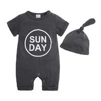 säuglingshüte für jungen großhandel-Babyspielanzug INS Sommer Jungen Mädchen Strampler Einfarbig Kurzarm Mit Hut Infant Neugeborene Kleidung Baby Strampler Overalls Body Q323