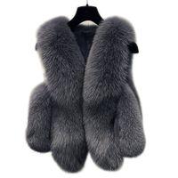 меховые жилеты для женщин оптовых-Зима искусственного меха жилет женщин куртка пальто толстые теплые искусственного меха жилет верхняя одежда Женская Лиса пальто женский плюс размер 3XL
