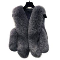 ingrosso donna di pelliccia del cappotto di volpe-Inverno Faux Fur Vest Donna Jacket Coat Spessore caldo Faux Fur Vest Capispalla Donna Fox Coat Donna Plus Size 3XL