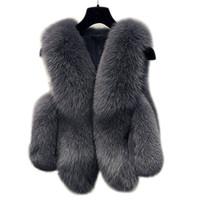 dış giyim kadın s artı toptan satış-Kış Sahte Kürk yelek kadın Ceket Coat Kalın Sıcak Sahte Kürk Yelek Kabanlar Kadın Fox Coat Kadın Plus Size 3XL