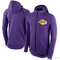 hoodie do basebol jérsei venda por atacado-Los AngelesLakers Showtime Jersey Desempenho Flex ThermaNBA Full-Zip Hoodie Basketball