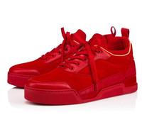zapatos casuales de corte medio al por mayor-Marca Desginer Style Red Bottom Men Mid Boots Zapatillas Aurelien Flat Lovers Cuero genuino Mid Cut Zapatos casuales Zapatos de suela roja Entrenadores