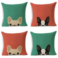 Wholesale cute animal pillow cases resale online - Cartoon Printing Dog Linen Pillow Case Sofa Office Cushion Cover Cute Animal Comfortable Home Textile Hot zy Ww