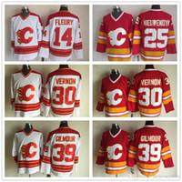 старые трикотажные изделия хоккей ccm оптовых-Трикотажные изделия Calgary Flames CCM Old Time Хоккей 14 Теорет Флери 25 Джо Ньювендик 30 Майк Вернон 39 Дуг Гилмор Джерси