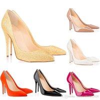 sapatos femininos nu venda por atacado-Christain Louboutin Barato fundo vermelho sapatos de salto alto designer de Sapatos Femininos 8 cm 10 cm 12 cm Nu preto Fino flash de Couro Branco Dedos Apontados Bombas Sapatos De