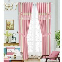 Wholesale window color lights resale online - New Curtain High Quality cotton solid color embroidered lace stitching living room bedroom Block light curtains Window Treatments