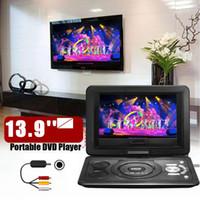 carro usb mp3 player dvd venda por atacado-13.9 '' Mini Portátil Casa Leitor de DVD Carro MP3 CD Digital Multimedia Player USB SD Suporte FM TV Ler Função w / Gamepad