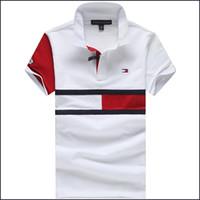 erkekler için düğmeler toptan satış-Erkek Tasarımcı T Gömlek Yeni erkek Kısa Kollu Yaka Gömlek Boyun T-shirt Yaz Nefes Düğme Kazak T-shirt Erkekler Patchwork Te Tops