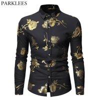 balo elbiseleri kolları baskı toptan satış-Erkek Hipster Bronzlaştırıcı Gül Baskı Gömlek Erkekler Uzun Kollu Altın Çiçek Düğme Aşağı Gömlekler Siyah Slim Fit Balo Chemise Hommes Tops