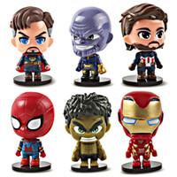 figurinhas de ferro venda por atacado-Simulação Homem De Ferro Boneca Hulk 6 pcs Set Estatueta Opp Embalagem Modelo Brinquedos Pequenos E Requintados Vender Bem 16 8sd J1