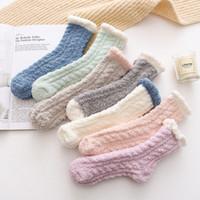 kadın için havlu çorapları toptan satış-201910 Lady Kış Sıcak Kabarık Mercan Kadife Kalın Havlu Çorap Şeker Yetişkin Renk Kat Uyku Bulanık Çorap Kadınlar Kız çorap M657F