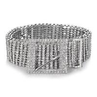 kristallketten für kleider großhandel-Frauen Glänzende Gürtel Taille Kette Kristall Diamant Bund Voller Strass Luxus Breite Partei Gürtel Bund Für Kleid