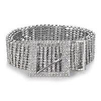 correntes de cristal para vestidos venda por atacado-Mulheres Cinto Brilhante Cintura Cadeia De Cristal De Diamante Cós Strass Completo De Luxo Largo Cinto Do Partido Cintura Para O Vestido