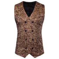 Wholesale men leopard vest resale online - Leopard Mens Suit Vests Sleeveless Casual Mens Outerwear With Button Male Clothing