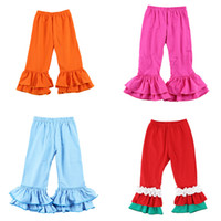 erkek pantolonu toptan satış-Kızlar Katı fırfır Pantolon 17 Renk Bebek Bebek Pantolon Çocuk Tasarımcı Giyim Kız Sonbahar Pamuk Splice Pantolon Genç Casual Özel Kıyafetler 06