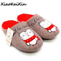 Wholesale indoor slippers for kids for sale - Group buy XiaoKaiXin Cartoon Animal Embroider Cotton Slippers for Women Men Kids Winter Indoor Plush Owl Style Rubber Soles Home Slippers