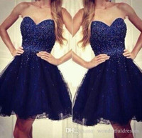 mavi payet kısa homecoming elbisesi toptan satış-Ucuz Lacivert Homecoming Elbise Durum Elbise A Hattı Sequins Sevgiliye Tül Kısa Kokteyl Parti Balo Abiye