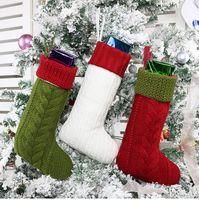 çocuklar için beyaz çoraplar toptan satış-Örme Noel çorap, Noel Şömine Çocuklar için Beyaz Kırmızı Yeşil Örgü Noel Dekorasyon Hediyelik Bag Çorap Örme Hediyelik Çantalar Asma