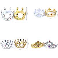 doğum günü partisi dekorasyonu prens toptan satış-Bebek Çocuk Taç Şapkalar Kız Doğum Günü Partisi Tiaras Süslemeleri Çocuk Prens Prenses Taçlar Şapka Şapkalar Cosplay Malzemeleri