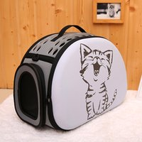 Wholesale small outdoor cat house resale online - Portable Handbag Small Breathable Fashion D Pattern Outdoor Shoulder Mesh Pet Bag Puppy Cat Carrier House Travel Foldable