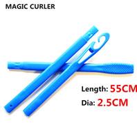 Wholesale 55cm hair for sale - Group buy 18pcs set cm long diameter cm easy use Magic hair curler magic roller spiral curls roller roller curler