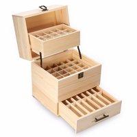 metallverriegelungsboxen großhandel-Beste 3 Schichten Holz Aufbewahrungsbox Carry Organizer Aufbewahrungsbox Ätherisches Öl Flaschen Aromatherapie Container Metal Lock Schmuck T