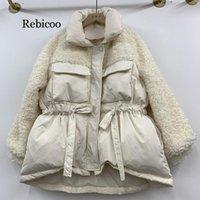 ingrosso pizzo coreano di nuovo stile di inverno-Giacca bianca delle donne in stile coreano Inverno Nuovo stile Loose-Fit Lace-up Vita Network Red Coat rebicoo