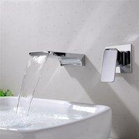 ingrosso singoli rubinetti a freddo singoli-Contemporaneo nel muro Sink Faucets del rubinetto del bacino della cascata caldo e freddo lavandino di acqua della parete scura Rubinetto Singolo supporto Foro singolo FFA2276