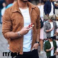 длинное замшевое пальто оптовых-Men Casual Winter Warm Turn Down Collar Long Sleeve Zipper Suede Outerwear Jacket Coat Tops