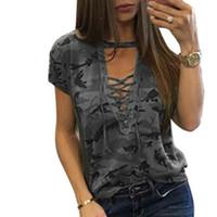 Wholesale women's rhinestone choker online - 2019 Sexy Women Shirts Camouflage Choker V Neck Lace Up Tops Shirt Ladies Loose Bandage Blusas Shirts Plus Size Summer XXL GV555