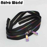 tecido de couro metálico venda por atacado-10 Metros 5 # rainbow metal dentes zíper, tecido preto No5 Metálico Rainbow zíperes para sacos de couro DIY, sapatos de costura