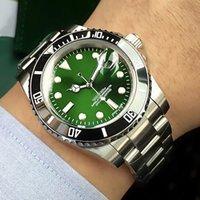 зеленая рамка автоматическая оптовых-Роскошные мужские часы зеленый циферблат механические автоматические часы 316L корпус из нержавеющей стали браслет керамический безель Desinger часы мужчины A46-1