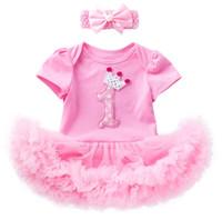 платья для девочек оптовых-Новорожденные дети 1-й 2-й день рождения одеваются цельный комбинезон юбки пачки с повязкой на голову малыша подарки для младенцев праздничная одежда комплект корона
