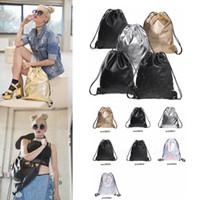 okul çantası çantası toptan satış-Lazer ipli çanta sırt çantası Holografik Kadın Taşınabilir açık PU su geçirmez Kadın okul çantası Katı Çanta Organizatör FFA3037-2