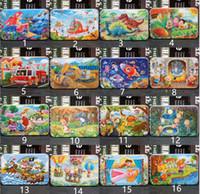 kinder holzspielzeug großhandel-32 Art 60 Stück Holz Puzzle Spielzeug mit Eisen-Kasten Kind-Karikatur-Tiere Holz Puzzles Lernspielzeug für Kinder Weihnachtsgeschenk L
