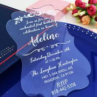 invitaciones claras al por mayor-Las invitaciones de boda de acrílico, invitaciones de boda de castillo personalizadas, invitaciones de boda de acrílico, tarjeta de invitaciones de acrílico