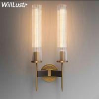 modern brass wall lamp ribbed glass shade vintage wrought copper sconce lobby bedroom hotel corridor restaurant bar cafe loft wall light