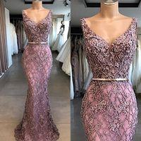 Wholesale prom dresses elegant crystals red resale online - 2020 Elegant Beaded Lace Mermaid Prom Dresses Purple V Neck Sleeveless Floor Length Formal Vestidos Evening Gowns BC2874